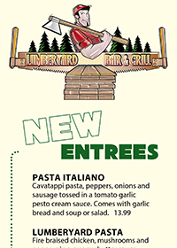 NEW Entrees & Sandwiches